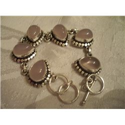 Sterling Silver Bracelet W/Gemstones, Approx 35 Grams