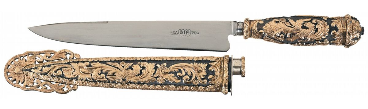 Delightful Image 1 : Extraordinary Freccero Facon Gaucho Style Knife With Solid Silver  Sheath And Hilt, ...