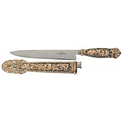 Extraordinary Freccero Facon Gaucho Style Knife with Solid Silver Sheath and Hilt, Extensive Gold Pa