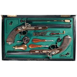 Cased Engraved Matching Pair of French Lamouroux Percussion Target Pistols