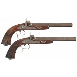 Matching Pair of Gold Inlaid Damascus Pattern Percussion Target Pistols