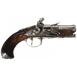 Very Fine Silver Mounted St Etienne Flintlock Pocket Pistol