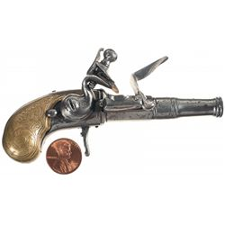 Unmarked Miniature  Queen Anne  Style Flintlock Pistol with Engraved Brass Grip