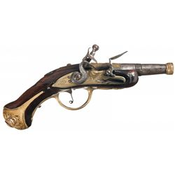 Unmarked Engraved Brass Mounted Flintlock Pocket Pistol