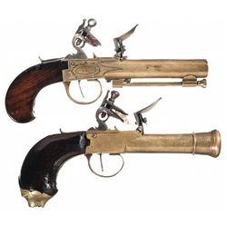 Two Antique Brass Flintlock Pistols