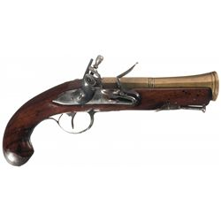 Fine Unmarked Blunderbuss Flintlock Pistol with Brass Barrel