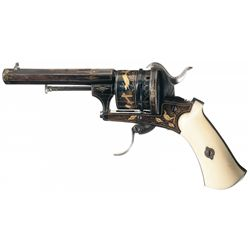 Gold Inlaid European Pinfire Revolver with Ivory Grips and Soviet Cossack Sword