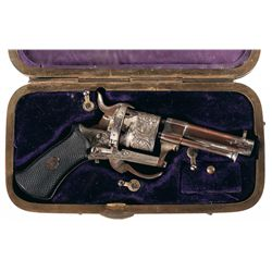 Engraved Pinfire Revolver with Unique Combination Case