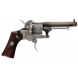 Factory Engraved Lefaucheux Pinfire Revolver with Holster