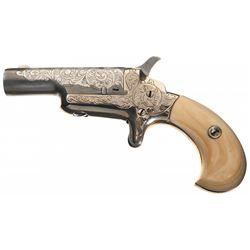 Custom Engraved Colt Third Model 41 Caliber Derringer with Ivory Grips
