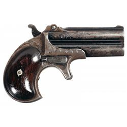 Fine Factory Engraved Remington Over Under Derringer with Blue Finish