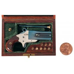 Cased Miniature L.H. Smith Production Frank Wesson Double Derringer with Sliding Bayonet