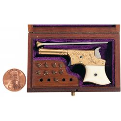 Cased Engraved Gold Larry Smith Remington Vest Pocket Derringer Pistol with Ivory Grips