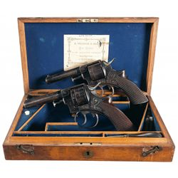 Desirable Retailer Marked, Matching Double Cased Engraved Pair of Webley & Scott Royal Irish Constab