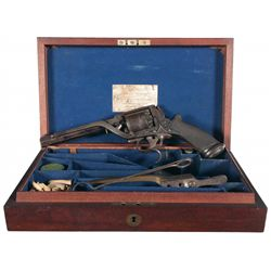 Cased Engraved Tranter Patent Percussion Revolver with New York Retailer Label
