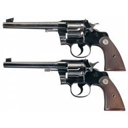 Collector's Lot of Two Colt Officers Model Double Action Revolvers