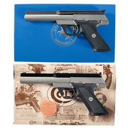 Two Colt .22 Target Model Semi-Automatic Pistols with Cases
