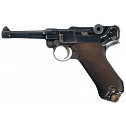 WWI German 1916 Dated DWM Model 1914 Military Luger Pistol with WWII Holster