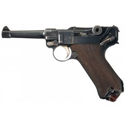 WWI 1918 Dated Erfurt Model 1914 Military Luger Pistol with 1918 Dated Holster and Extra Magazine