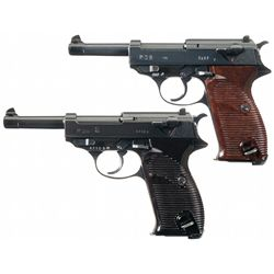 Collectors Lot of Two Nazi P-38 Semi-Automatic Pistols with Holsters