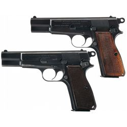 Two Post-War Fabrique Nationale High Power Semi-Automatic Pistols