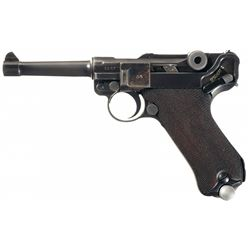 """Mauser """"S/42"""" Code 1938 Dated Luger Pistol with Matching Magazine and 1938 Dated Holster"""