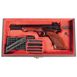 Excellent Belgian Browning Medalist Semi-Automatic Target Pistol with Barrel Weights and Browning Ca