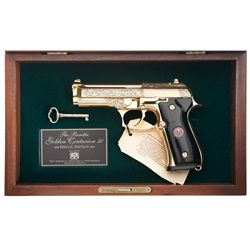 Cased Engraved Beretta Model 96-D Golden Centurion Semi-Automatic Pistol