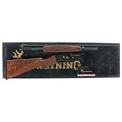 Engraved Gold Inlaid Browning Model 42 Grade V Slide Action Shotgun with Box