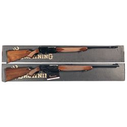Two Boxed Browning Safari BAR II Semi-Automatic Rifles