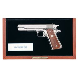 Documented  Show Gun  Colt Government Model  Silver Star 45  1911 Semi-Automatic Pistol with Case an