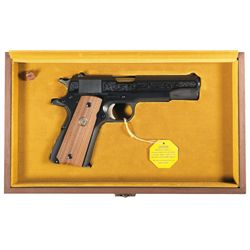 Cased Engraved Colt Custom Shop 1911 Government Model Series 70 Michigan State Police 60th Anniversa