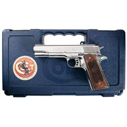 Colt National Match Royal Stainless Gold Cup 45 Semi-Automatic Pistol with Case