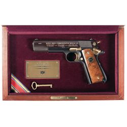 Cased Engraved Auto Ordnance Model 1911 Limited Edition Commemorative Semi-Automatic Pistol with Shi