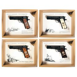 Set of Four Cased Matching Serial Numbered WWI Commemorative 1911 Semi-Automatic Pistols with Boxes