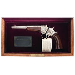 Cased Engraved Uberti 1 of 250 Model 1871 Rolling Block Pistol