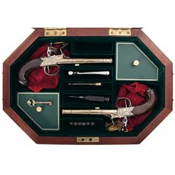 Cased Matching Pair of U.S. Historical Society Thomas Jefferson Flintlock Dueling Pistols