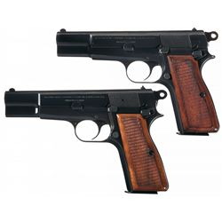 Two Belgian Browning High Power Semi-Automatic Pistols