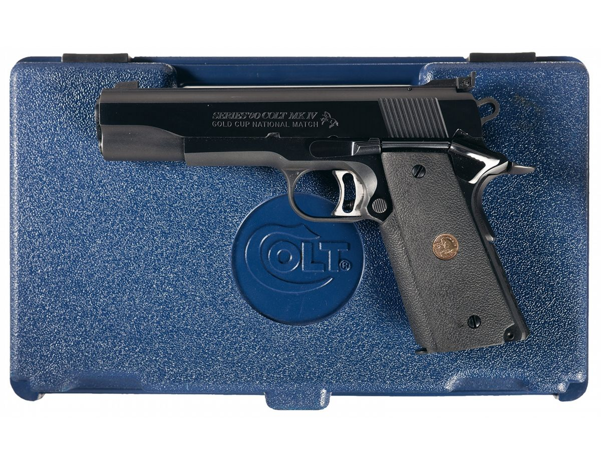Colt MK IV Series 80 Gold Cup National Match Semi-Automatic Pistol with  Case. Loading zoom