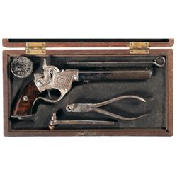 Rare Exhibition Quality Cased Factory Engraved Sharps Breech Loading Single Shot Pistol