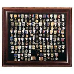 Large Framed Grouping of Pistol Shooting Awards