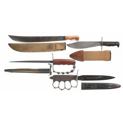 Four U.S. Edged Weapons with Scabbards, Including Two Trench Knives
