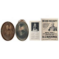 Two WWI Vintage Portraits of United States Marines, Vintage U.S.M.C. Recruiting Poster and Marine Ca