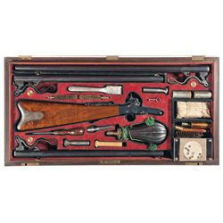 Excellent Cased Three Barrel Set Maynard Single Shot Percussion Rifle/Shotgun with Target Attributed