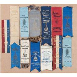 Grouping of Thirteen Civil War Reunion Ribbons