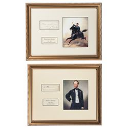 Two Framed Cut Signatures and Prints of Civil War Generals