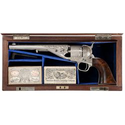 Serial Number 1 Exhibition Engraved and Cased Colt Navy Cartridge Revolver Presented by Colt to Lewi