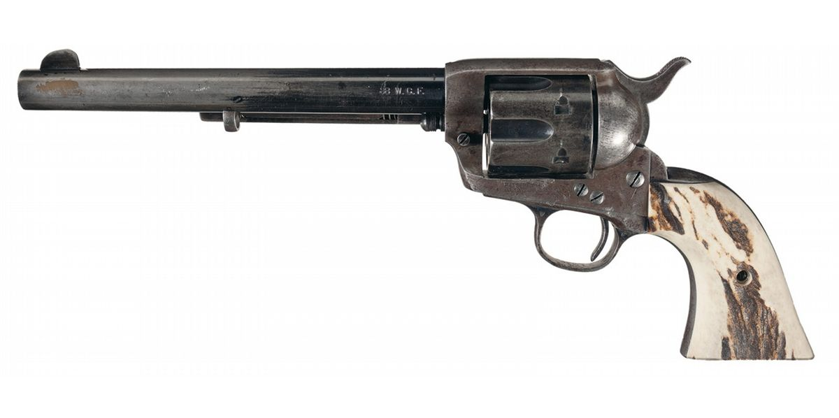 Pre-War Colt Single Action Army Revolver with Holster and Stag Grips