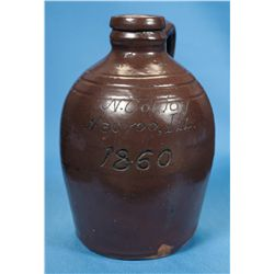 Extraordinary Historical N. Couloy Nauvoo Illinois Signed 1860 Dated Albany Slip Jug