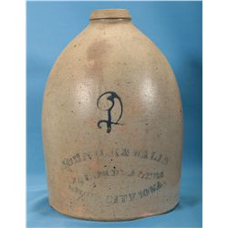 Rare 2 Gallon Pottery Jug with Sioux City, Iowa Liquor Advertising